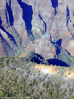 Flying over the Waimea Canyon's rock spires