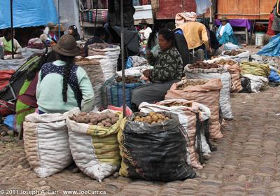 Sacks of potatoes at the Pisac Market