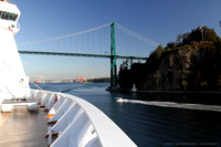 Leaving Lions Gate Bridge behind and Volendam leaves Vancouver Harbour
