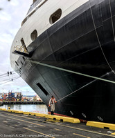 The Eurodam bow being painted