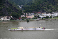 Boat on the Rhine River, and Sankt Goarshausen across the river
