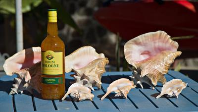 Rhum Bologne (sugar cane juice) and shells