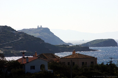 First glimpse of the Temple of Poseidon at Cape Sounio