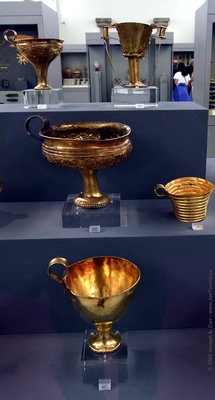 Gold and silver tableware from Graves IV and V, Grave Circle A, Mycenae