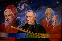 Painting of Father Angelo Secchi (foreground) surrounded by (L-R) Pope Gregory XIII, Pope Leo X & Pope Pius XI