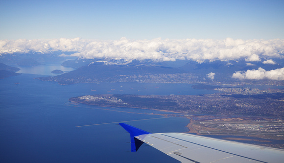 Vancouver airport and the city as we head south