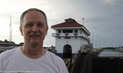 Joe on deck at Gatun Locks