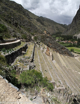 Incan terraces on the front of the fortress at Ollantaytambo