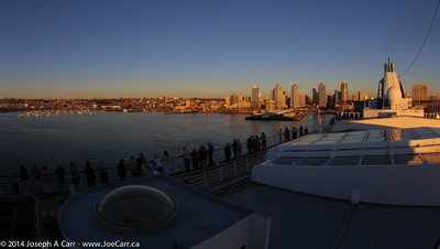Departure of Statendam from San Diego at sunset