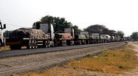 Trucks waiting for the Kazungula ferry on the Botswana side of the Zambezi