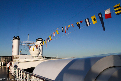 Flags on the Rotterdam while docked in San Diego