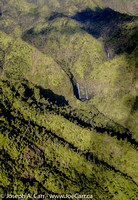Flying over falls at the source of the Hanalei River