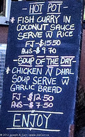 Daily special lunch menu board