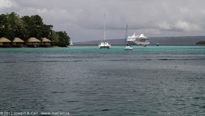 Paul Gauguin cruise ship anchored in Port Vila harbour