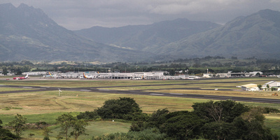 JoeTourist: To/from Canada & Fiji &emdash; Nadi airport runway, terminal buildings and aircraft