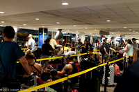 The lineup for boarding check-in for Nadi-LA flight