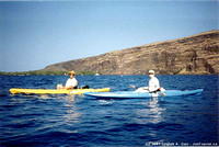 Roger & Joe in kayaks in Kealakekua Bay