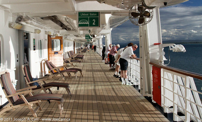 JoeTourist: Rotterdam, the ship &emdash; Promenade Deck in the tropical sunshine