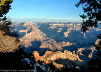 Grand Canyon sunrise - looking north east from Mather Point as daylight starts to take hold