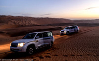 4x4s on the sand dunes in the pre-dawn