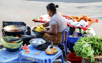 Street vendor frying food