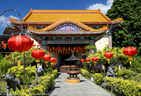 Temple decorated with Chinese lanterns