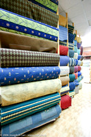 Imported fabrics in a Benghazi fabric shop
