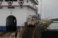 Engine holds us steady in second lock at Gatun & Gatun control building