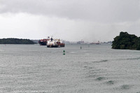 Freighters passing in navigation channel