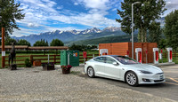 My Tesla Model S charging at the Golden Supercharger