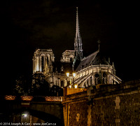 Notre Dame lit at night