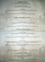 Canaletto restaurant menu