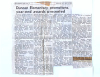 Duncan Elementary promotions, year-end awards presented - 1961-62