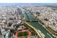Soccer field & Ile aux Cygnes in the middle of the Seine River