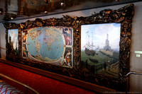 Ancient map and Florentine paintings in Explorations Lounge - Upper Promenade Deck 5