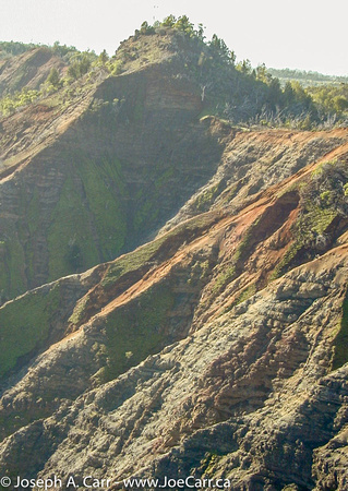 Flying over the head of the Waimea Canyon