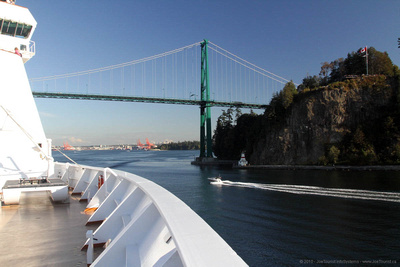 Leaving Lions Gate Bridge behind as Volendam departs Vancouver Harbour