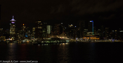 Vancouver at night as Eurodam docks at Canada Place cruise ship terminal