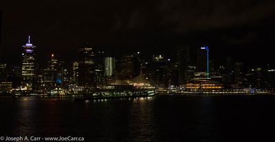 Vancouver at night as Eurodam docks at Canada Place cruise ship terminal