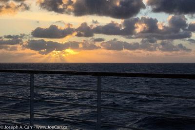 Anti-crepuscular rays at sunset