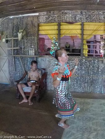 Iban woman performing the Hornbill dance