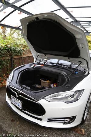 Zenfolio | JoeTourist | 2014 Tesla Model S 85 | Front trunk or 'frunk'