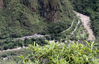 JoeTourist: Machu Picchu &emdash; Train running through the valley below