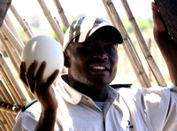 Our guide holding an ostrich egg