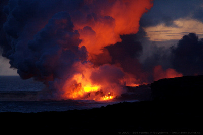 Kilauea Volcano - volcanic flow into the ocean