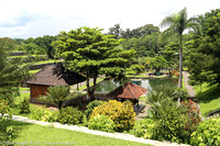 Panoramic of the palace grounds and pond