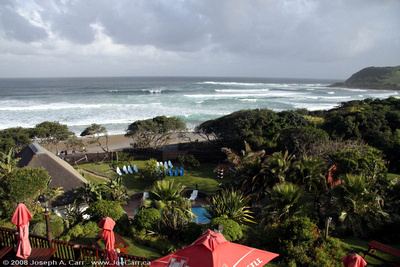 JoeTourist: Eastern Cape Province &emdash; View of the beach and the Indian Ocean from the hotel