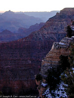 Grand Canyon sunrise - pre-dawn light looking north east from Yaki Point, Vishnu Temple to the left on the horizon