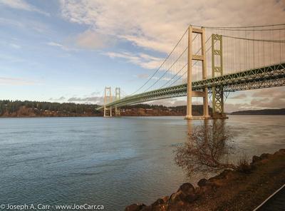 Tacoma Narrows bridge at sunset