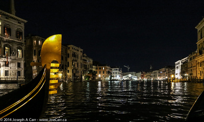 Gondola ride on the Grand Canal at night in Venice